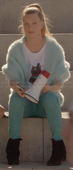 Brittany's cat tee and blue fluffy jacket on Glee