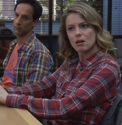 Britta's red chambray plaid shirt on Community