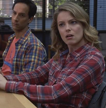 Britta's red chambray plaid shirt on Community