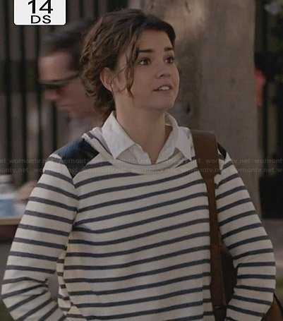 Callie's striped long sleeve top with leather shoulders on The Fosters