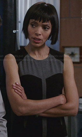 Camille's black and grey colorblock dress on Bones