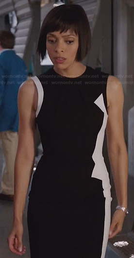 Camille's black and white asymmetric dress on Bones