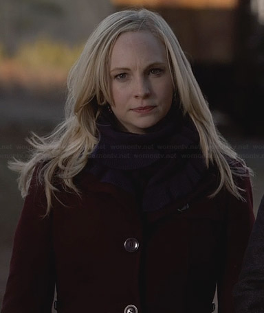 Caroline's red coat and purple ruffle trim scarf on The Vampire Diaries