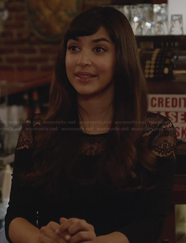 Cece's black lace yoke top on New Girl