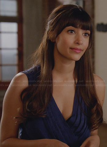 Cece's blue pleated wrap dress on New Girl