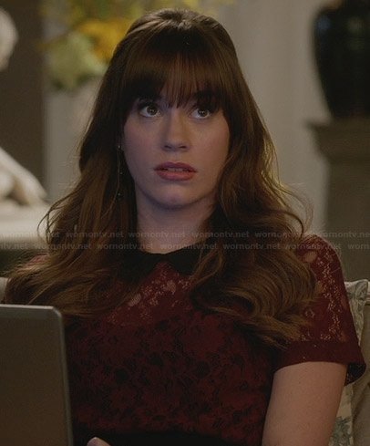 Charlotte's red lace top with peter pan collar on Revenge
