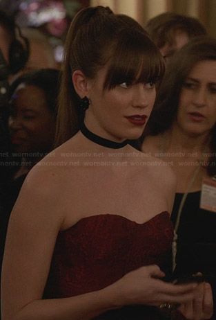 Charlotte's red strapless peplum gown on Revenge