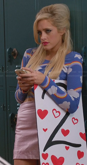 Dalia's blue rainbow print top on Suburgatory