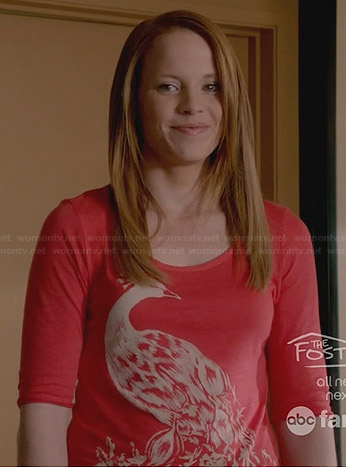 Daphne's coral pink peacock top on Switched at Birth