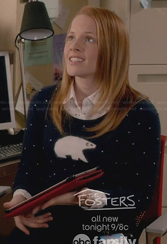 Daphne's polka dot and polar bear sweater on Switched at Birth