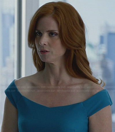 Donna's blue off-shoulder dress on Suits