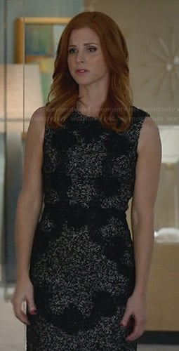 Donna's grey tweed dress with black lace applique on Suits