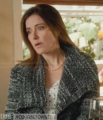 Ellie's grey boucle jacket on Cougar Town