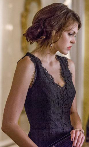 Emery's black lace dress on Star-Crossed