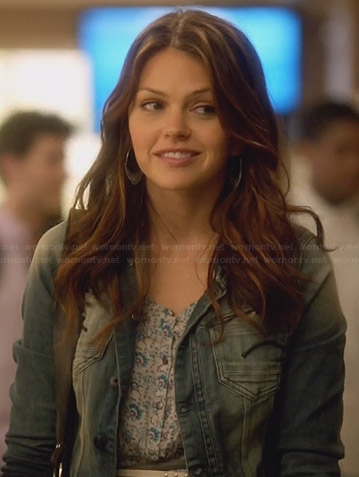 Emery's blue patterned dress and denim jacket on Star-Crossed