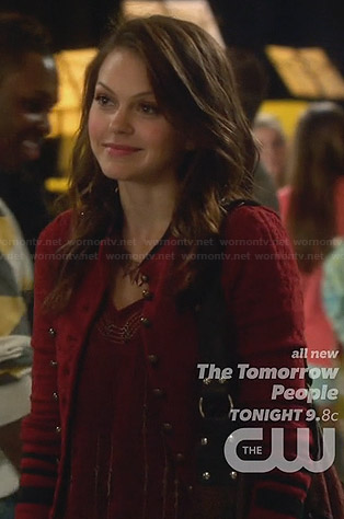 Emery's red military style jacket on Star-Crossed