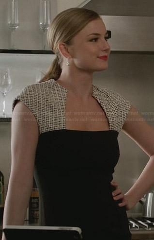 Emily's black dress with cream patterned shoulders on Revenge