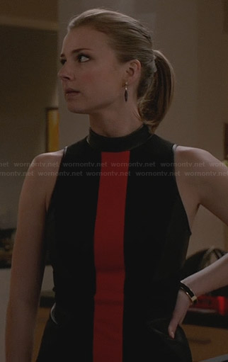 Emily's black and red leather neck dress on Revenge