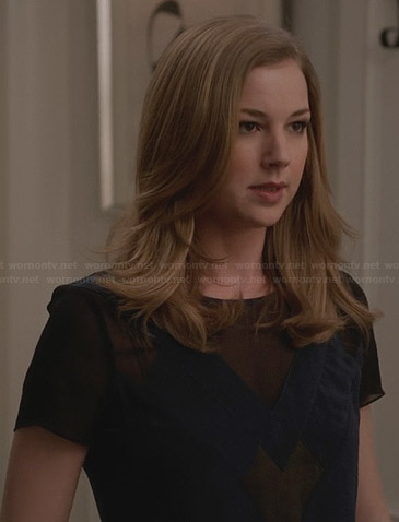 Emily's blue top with mesh sleeves on Revenge