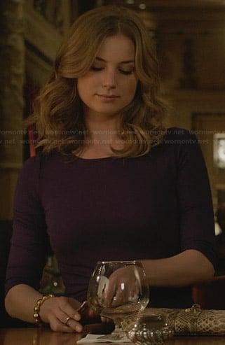 Emily's purple twist-front dress on Revenge