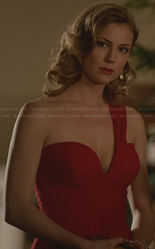 Emily's red one-shouldered gown on Revenge