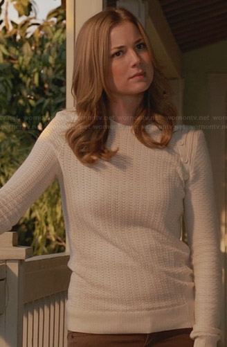 Emily's white shoulder button sweater on Revenge