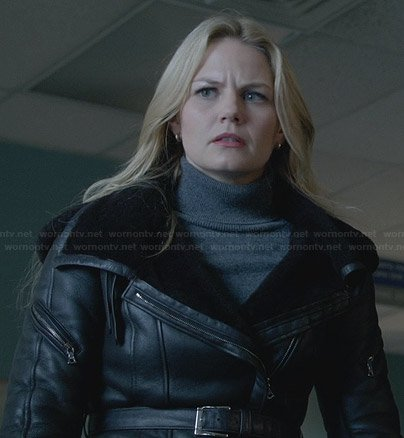 Emma's black leather belted jacket on Once Upon a Time