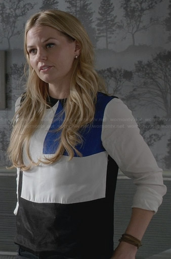 Emma's blue, white, and black colorblock blouse on Once Upon a Time