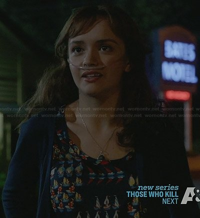 Emma's boat print tank top on Bates Motel