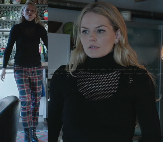 Emma's plaid pants and black mesh sweater on OUAT