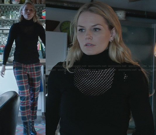 Emma's black perforated turtleneck sweater and plaid trousers on Once Upon a Time
