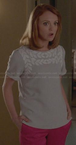 Emma's grey leaf top on Glee