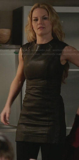 Emma's leather mini dress on Once Upon a Time
