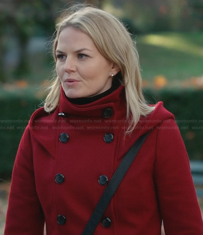Emma's red hooded funnel-neck coat on Once Upon a Time