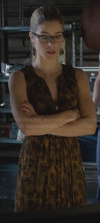 Felicity's yellow leopard print dress with zip front on Arrow