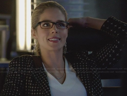 Felicity's black cross printed blazer on Arrow