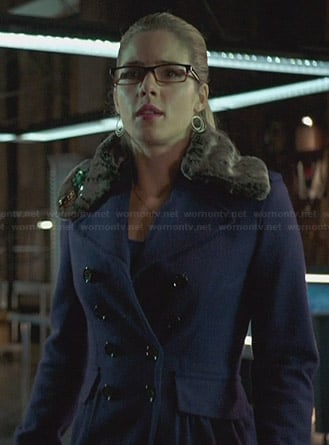 Felicity's purple coat with fur collar on Arrow