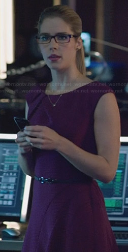 Felicity's purple fit and flare dress on Arrow