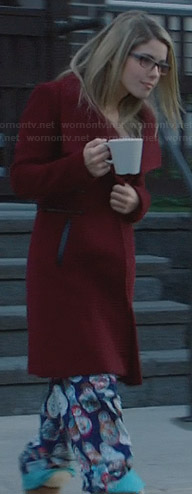 Felicity's nesting doll pajama pants and red leather-trimmed coat on Arrow