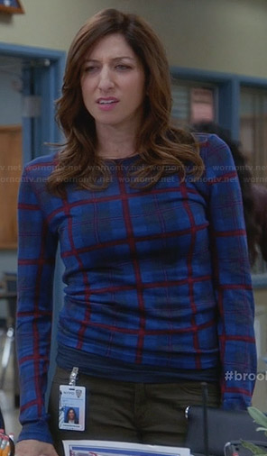 Gina's blue checked long sleeve top on Brooklyn Nine-Nine