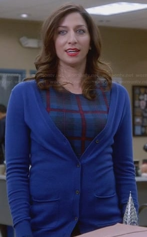 Gina's blue plaid long sleeve top on Brooklyn Nine-Nine