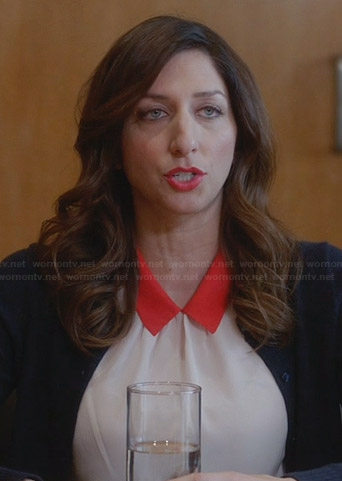 Gina's cream top with red collar on Brooklyn Nine-Nine