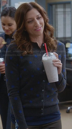 Gina' grey and blue polka dot cardigan on Brooklyn Nine-Nine
