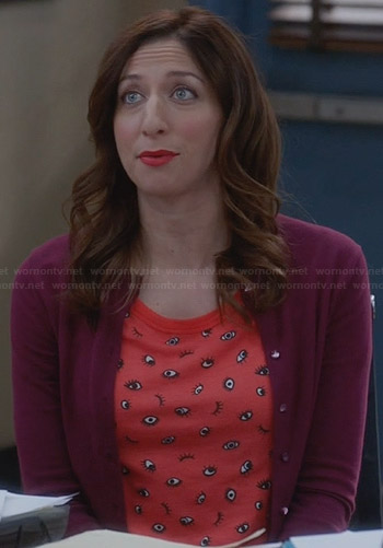 Gina's red eye printed tee and purple cardigan on Brooklyn Nine-Nine