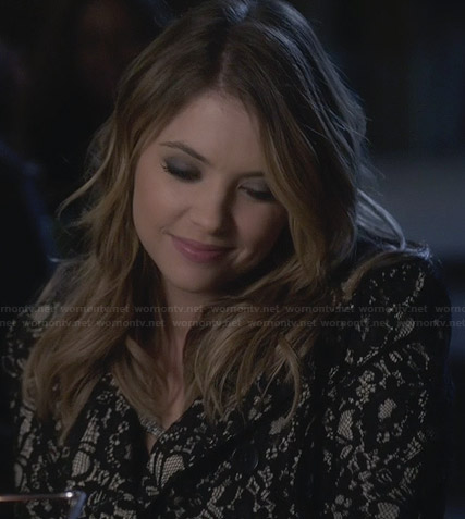 Hanna's black lace coat on PLL