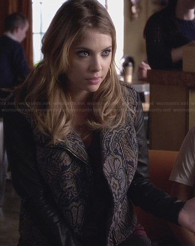 Hanna's paisley jacket with leather sleeves on Pretty Little Liars