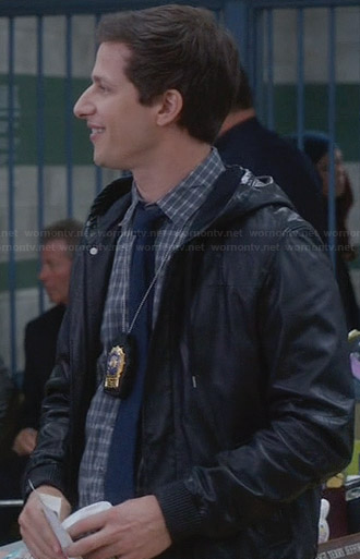 Jake's grey checked shirt and black leather hooded jacket on Brooklyn 99