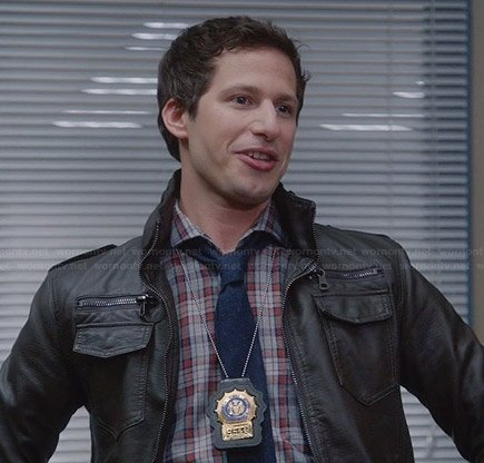 Jake's blue and red checked shirt and brown leather jacket on Brooklyn Nine-Nine