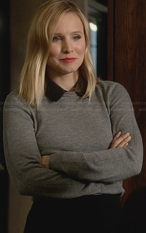 Jeannie's grey sweater with leather collar on House of Lies