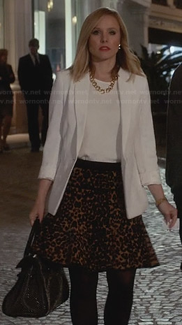 Jeannie's leopard print skirt and white blazer on House of Lies